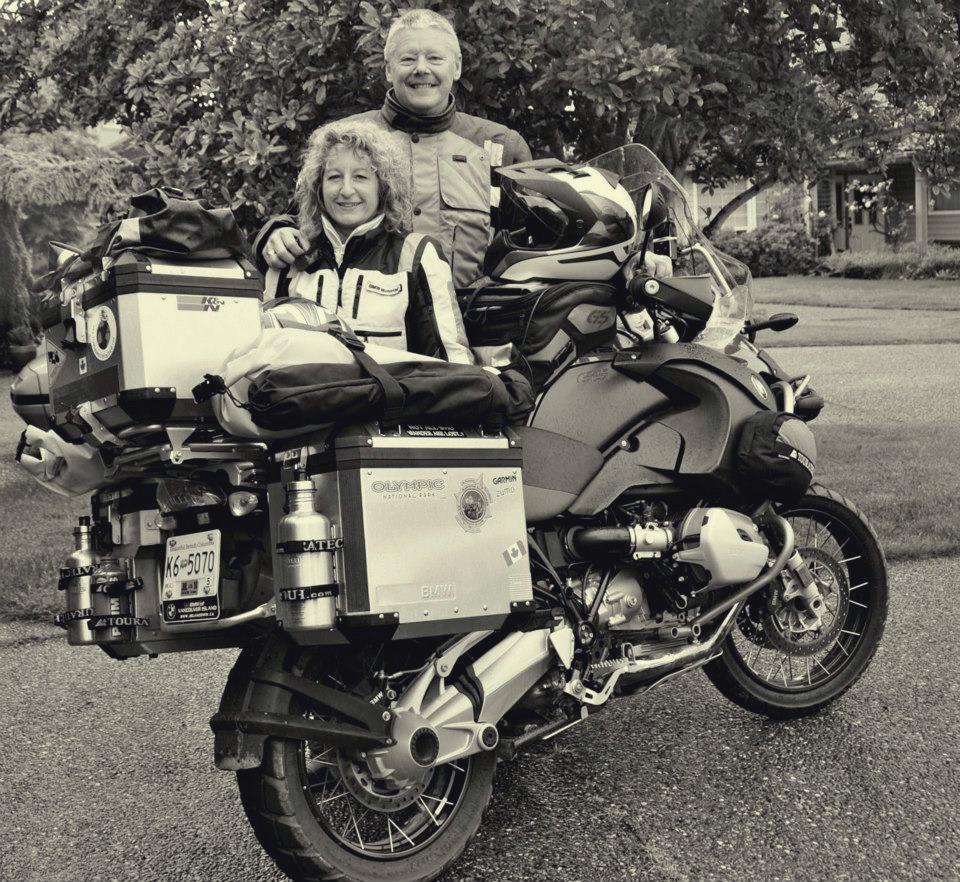 My husband, myself and 'Big Red', the bike that took us around the world!