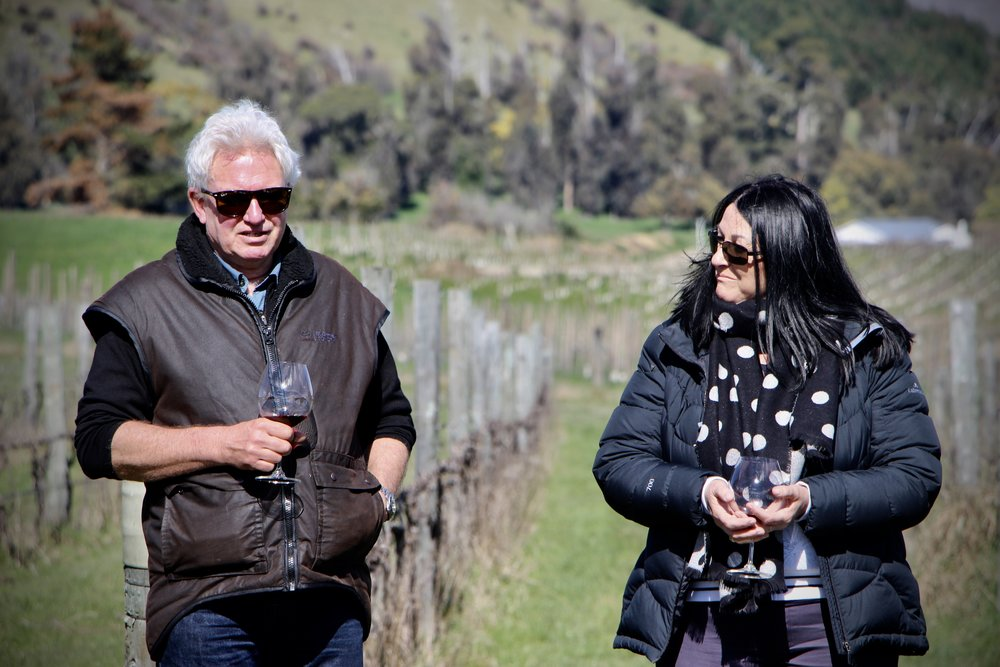Mike taking the team through the development of our Huia vineyards with Dee from NNZ.