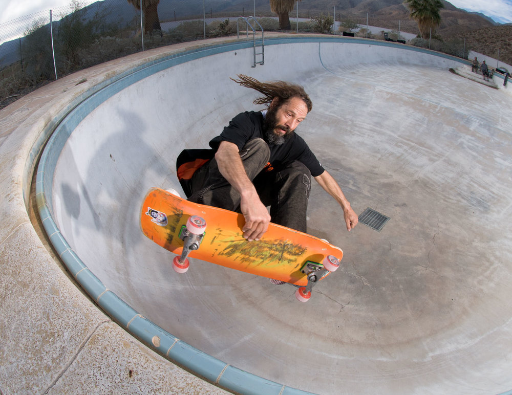 "Tony Alva pulls a frontside air out of the ""egg"" in Borrego Springs. (Photo by MRZ.)"