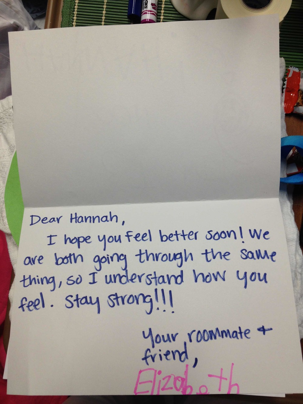 Get well card for her roommate