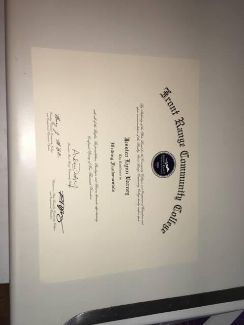 Jessica's Welding Certification