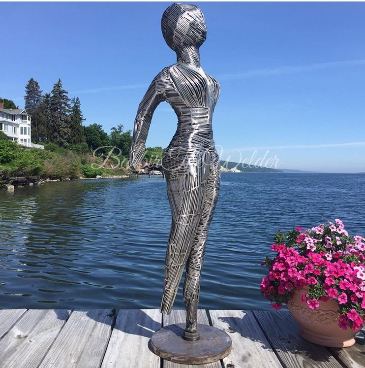 Welded Metal Woman Sculpture