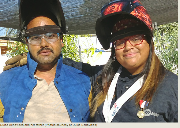 "When Dulce Benavides took her first welding class at San Bernardino Valley College, she was afraid because she was the only female in the class. But her father, a welder himself, had prepared her with the basics and, more importantly, gave her words to remember that she carries with her every day. In Spanish, he told her, ""No, I don't know how to do it, but if you show me, I will learn."""