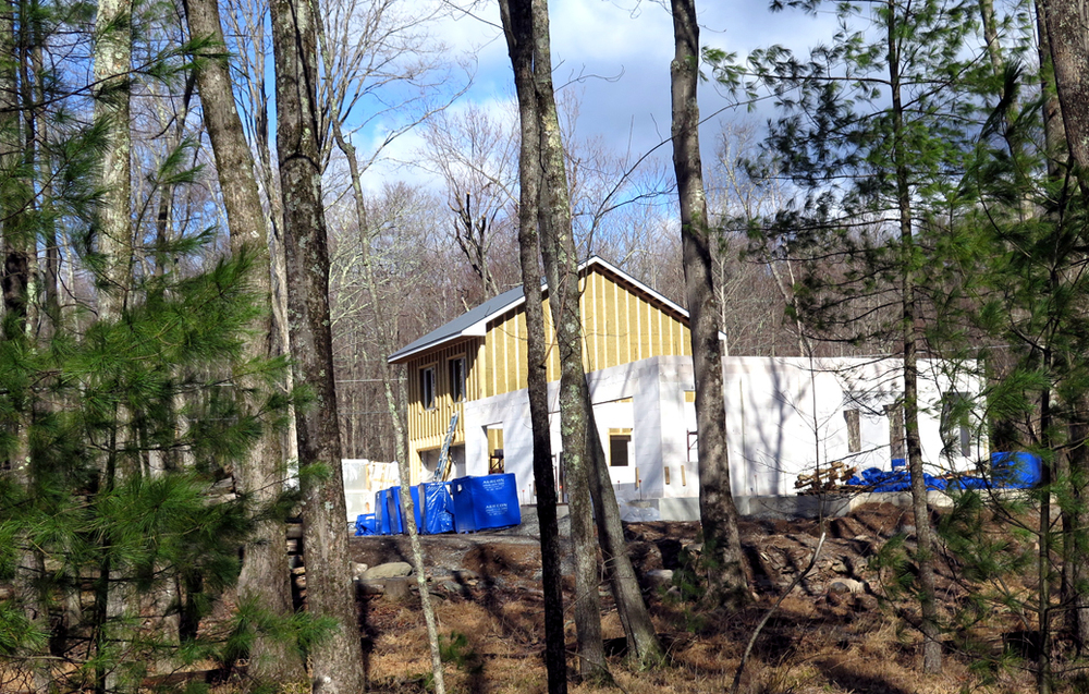 View of the Woodstock Passive House Project in progress.
