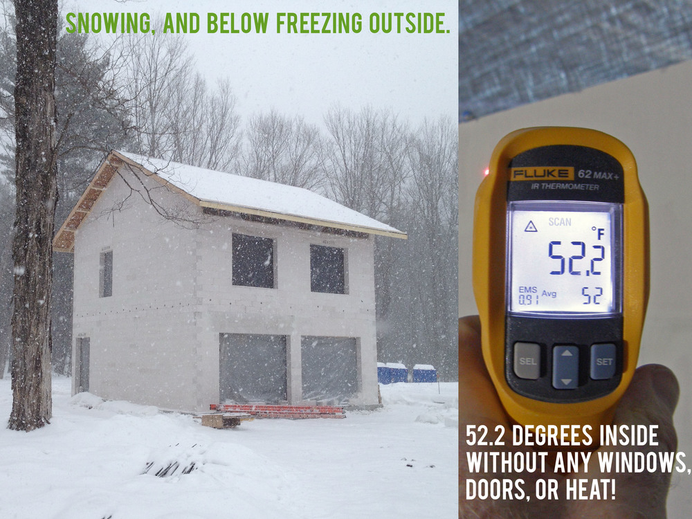 The beauty of a building built with AAC: a partially finished house holds heat, despite the frigid temperatures outside!