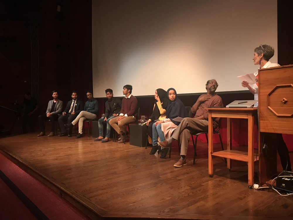 Cinematographer Kevin Young, Director Yusef Zine, Executive Producer Jamaal Azeez, Cast members: Muhammad Rasel, Ahmed Ullah, Ruma Ruma, Yasmin Akhter, Moderator Chiran Rudramoorthy  Photo: Zahireen Tarefdar for Hart House Debates and Dialogues Committee