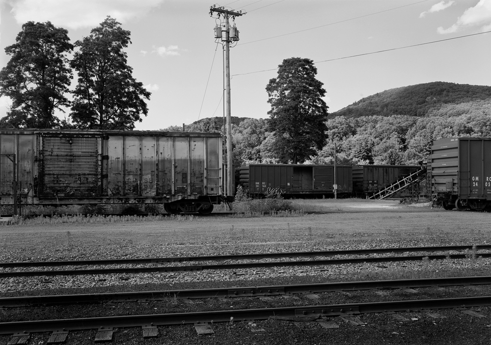 Stored boxcars in the interchange yards of the former Rutland Railroad.