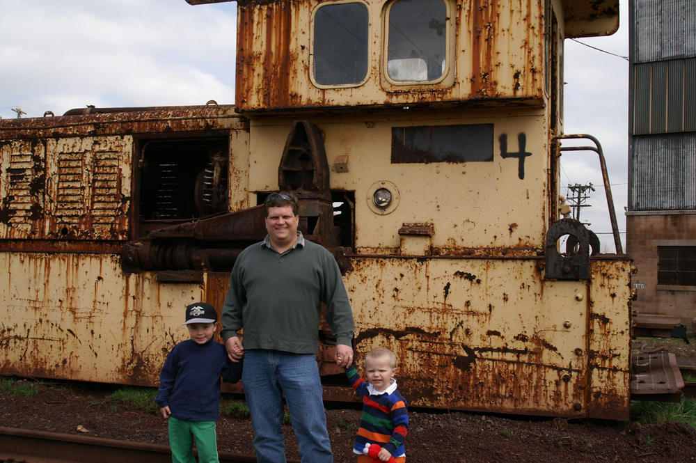 Randy Leiser with his two boys, Paul(left) and Dan(right)on his Grandfather's locomotive.