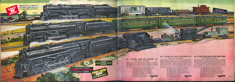 Page 18/19 of Lionel company's 1949 catalog illustrating three train sets with locomotives modeled after the PRR S2 Turbine Steam locomotive.