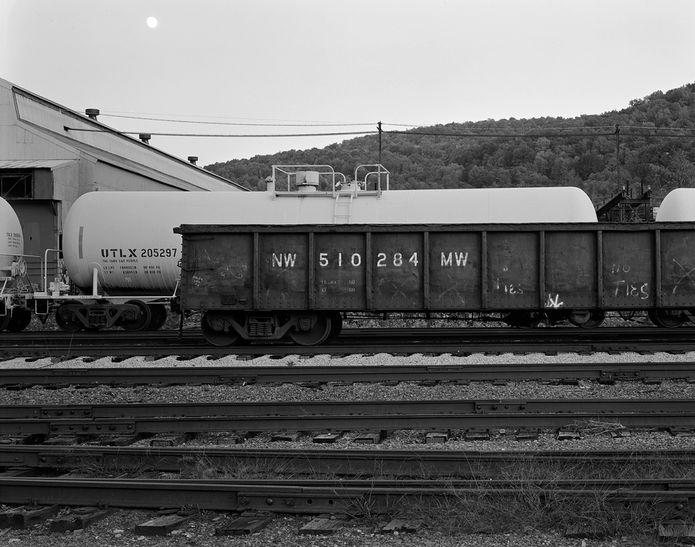 Various freight cars waiting for work at the Franklin Railcar America facility.