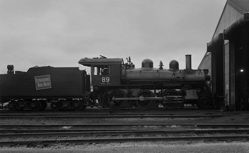 Number 89 a former Canadian National Mogul Type Locomotive built in 1910, stands cold in August of 2011 waiting for its routine inspection.