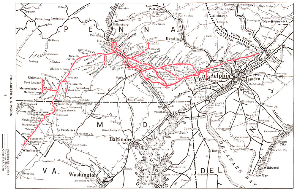 Map of the Pennsylvania Railroad Philadelphia Division. This map illustrates the entire division including mainline, branches and secondary tracks in the region between Philadelphia, Harrisburg, and the Cumberland Valley via Hagerstown Maryland.