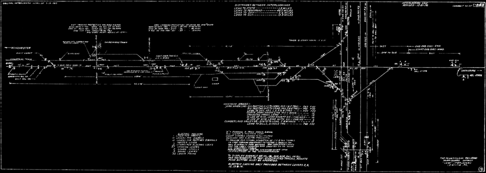 Plate drawing circa 1962 shows the expansive Lemoyne Junction. The horizontal line is the Cumberland Valley line to Hagerstown, Maryland, the vertical lines on the right show the original Northern Central alignment (left pair crossing at grade in front of Lemo tower) and the newer York Haven alignment (right pair passing under the Cumberland Valley).Track charts collection of  The Broad Way Webiste