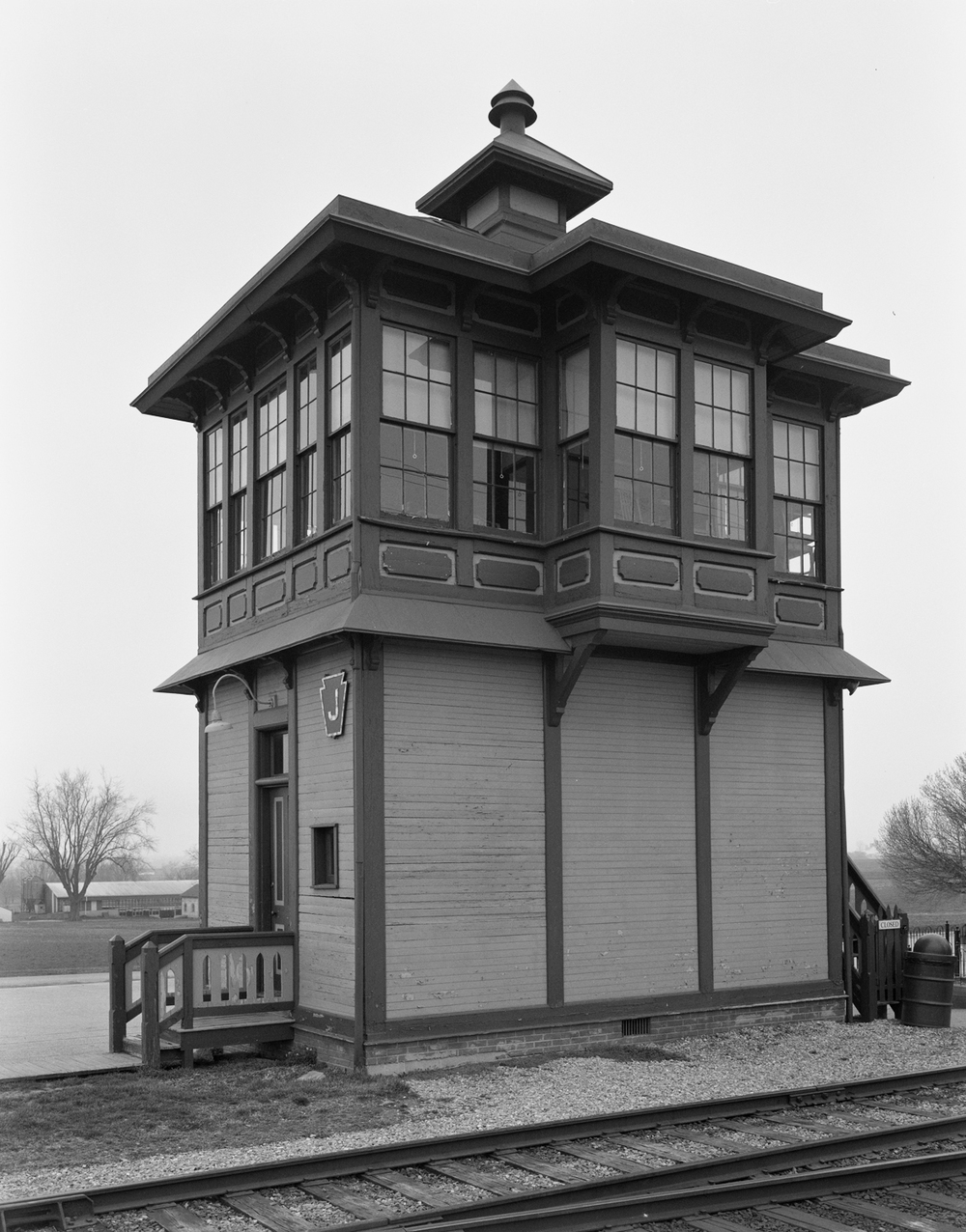 One of only two surviving examples of early PRR wood frame two story switch towers, J Tower survives today as part of the interactive experience at the Strasburg Railroad.