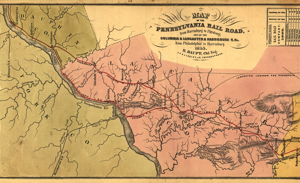 Detail of Pennsylvania Railroad system map circa 1855 listing connecting service with the Harrisburg & Lancaster RR, Columbia & Harrisburg RR and Columbia Railroad (actually the Philadelphia & Columbia) all which eventually would be taken over by the PRR. (Library of Congress Collection)