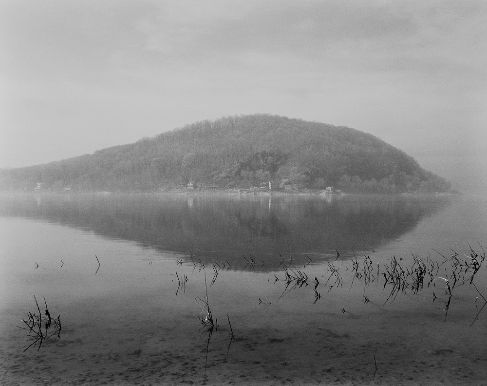 Clearing fog, Roundtop Mountain, from the mouth of Chiques Creek. Marietta, Pennsylvania