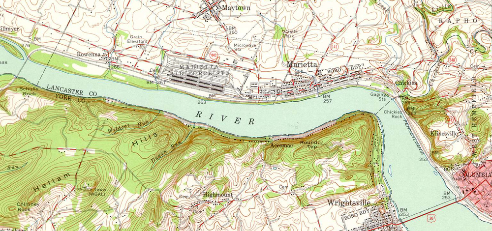 A 1956 USGS topographical map showing the changes as a result of the 1936 flood. Note Kerbaugh Lake is filled in, the Columbia branch is gone and the Columbia and Donnegal Electric Trolley and park have been abandoned.