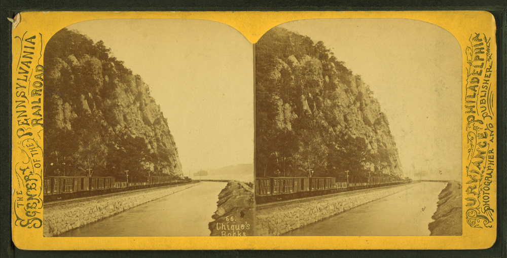 Stereo-view of Chickies Rock. This view illustrates the original Harrisburg, Portsmouth, Mount Joy and Lancaster alignment of what would become the PRR Columbia Branch. Image made by the W. T. Purviance Company between 1870-1880. Collection of the  NY Public Library System
