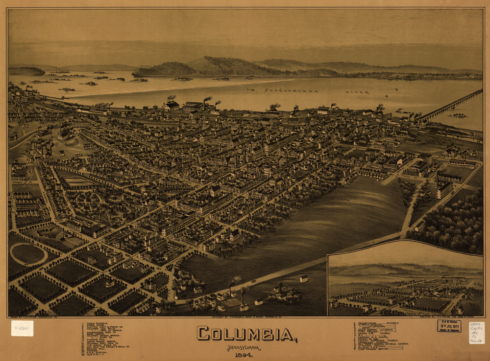 1894 map of Columbia at the peak of its industrial era by T. M. Fowler. Collection of Library of Congress Geography and Map Division.