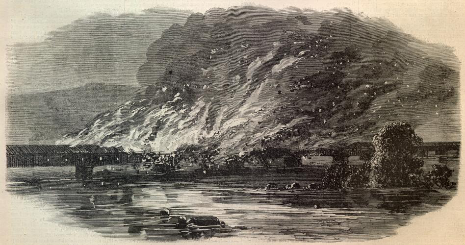 Illustration of the June 28th, 1863 Columbia –Wrightsville Bridge burning during the Civil War from Harper's Weekly. Collection of  The Civil War