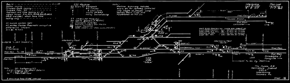 Plate drawing circa1963 Cola Interlocking which controlled the junction of the York Haven line, Columbia branch and Columbia and Port Deposit as well as access to the local freight yard. This interlocking was part of a Centralized Traffic Control system that controlled a much larger district of trackage and interlockings. Collection of The Broad Way.