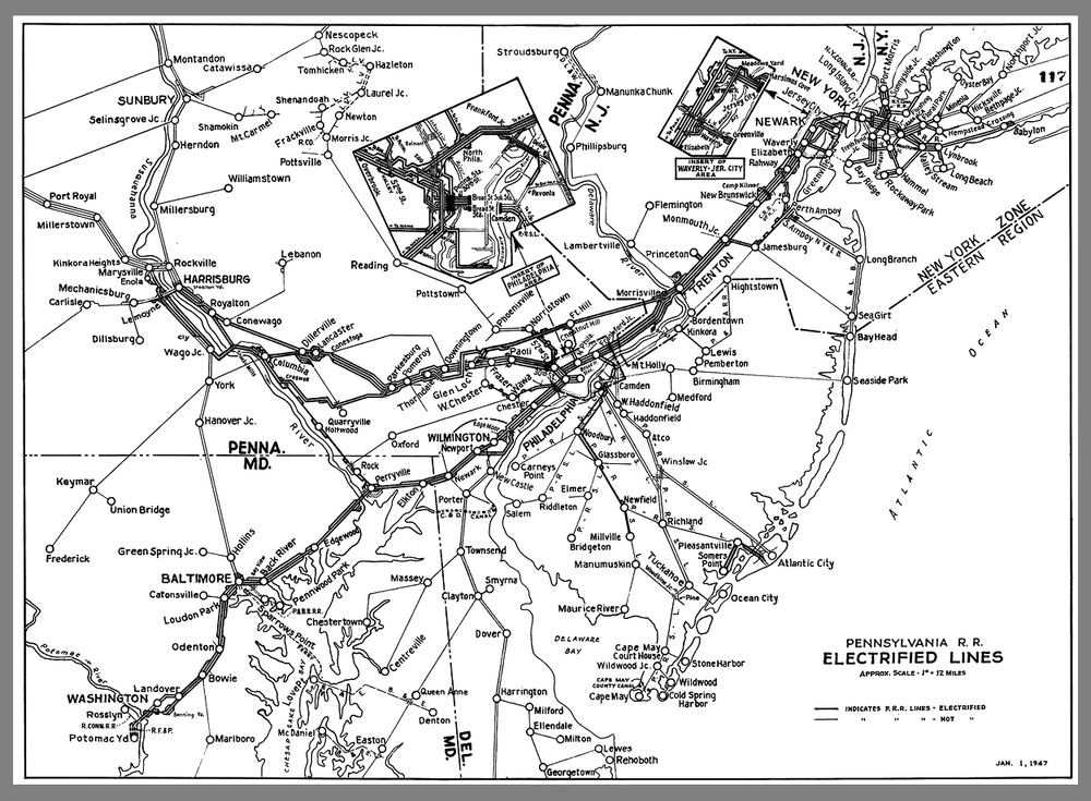 Map detailing the Pennsylvania Railroad's electrified territory circa 1947. Collection of Rails and Trails.