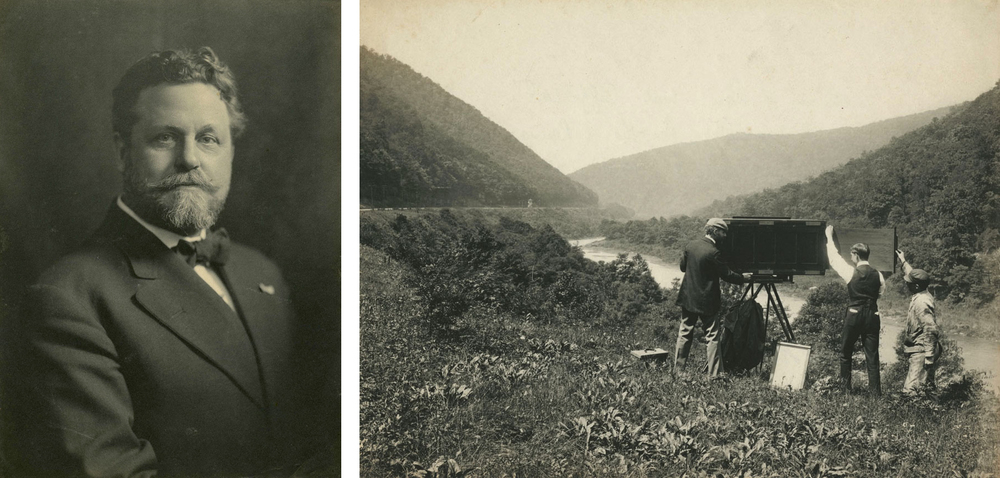 (L) William H. Rau portrait circa 1908. (R) Rau and his assistants setting up his camera along the Conemaugh River at the Packsaddle near present day Torrance, Pennsylvania, circa 1891. Both images collection of the Library Company of Philadelphia.