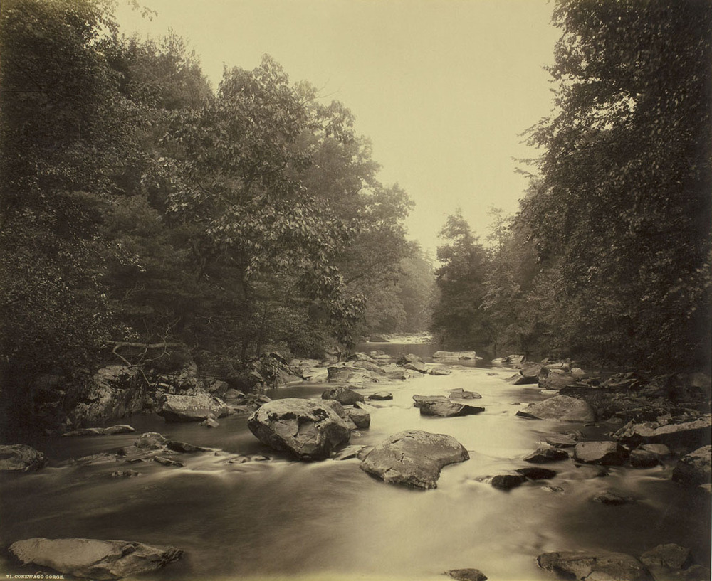 Plate#91: View of the Conewago Gorge by photographer William H. Rau, during his first photographic commission with the Pennsylvania Railroad to illustrate the destinations and scenery along the system. Collection of American Premier Underwriters, Inc.