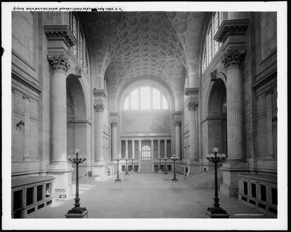 Main Waiting Room, Pennsylvania Station, NY, NY circa 1908-1910. This design was based on the Frigidarium or cold pool of the Baths of Caracalla, Detroit Publishing Company, collection of the Library of Congress.