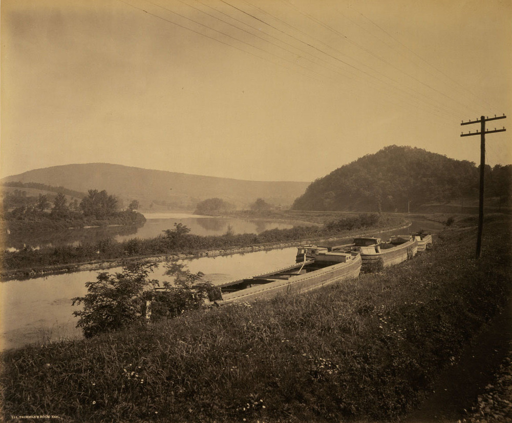 Trimmers Rock, a location along the Juniata Division of the Main Line of Public Works canal system represents the typical landscape of the original PRR main line to Lewistown, loosely following the canal network the railroad later used to improve and relocate its main line alignment. Photograph by William H. Rau, collection of American Premier Underwriters, Inc