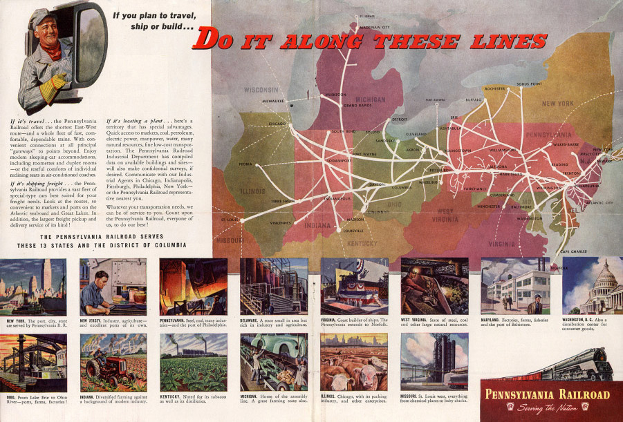Advertisement circa 1944 illustrating the diversity of areas served by the PRR. Collection of the    John W. Hartman Center for Sales, Advertising & Marketing History   , Duke University Libraries.