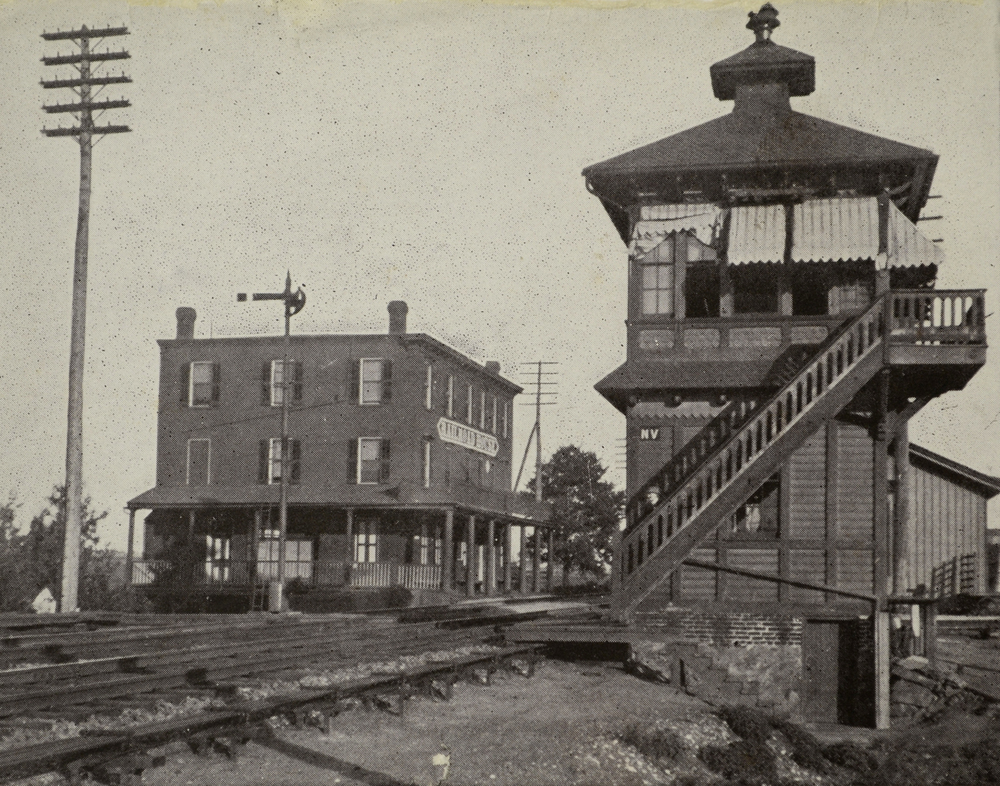 1909 view of NV tower, Landisville station and hotel located at the crossing of the PRR Main Line and Reading & Columbia Branch of the Reading Railroad. Today the tower, R&C and hotel are long gone but the small station behind the tower survives along with the Main Line. Collection of the Lancaster Historical Society