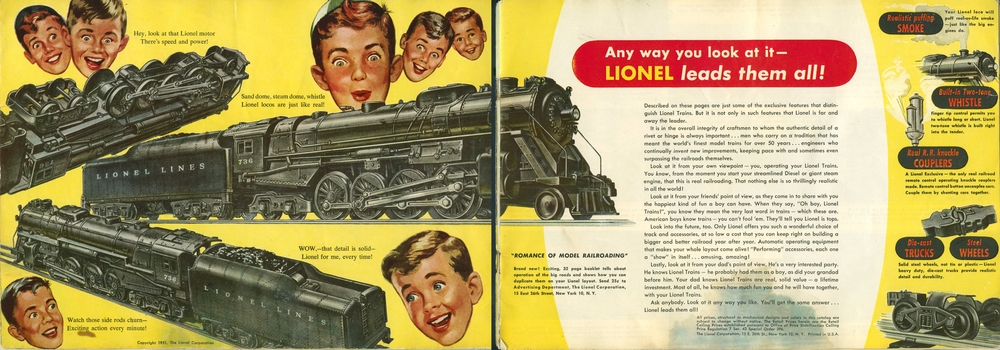 "1951 Lionel Catalog: Inside cover spread celebrating the ""Romance of Model Railroading"" Collection of the Author"