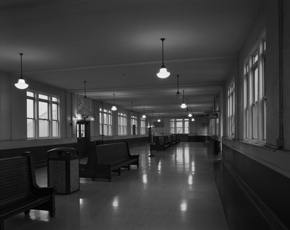Interior view of the concourse bridge waiting area in the 1928-29 passenger station that replaced the antiquated Queen Street station facility on the Old Main.