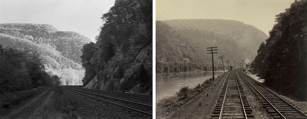 Though this project was never meant to be a re-photographic survey sometimes the opportunity presents itself to study the 120+ years of change on the Pennsylvania Railroad like here at Jacks Narrows on the Middle Division. Left image by the author, right image by William H. Rau, Collection of American Premier Underwriters, Inc.
