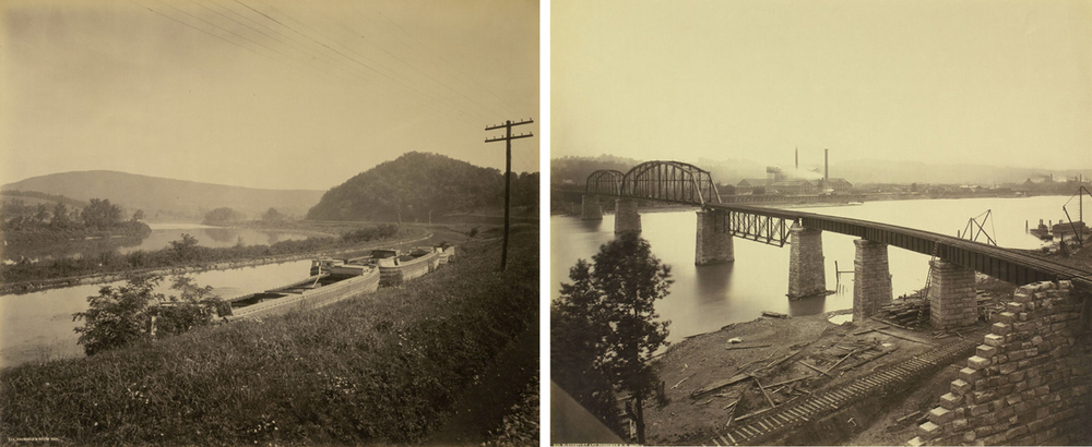 Different views made by Rau throughout his commissions with the PRR show the great systemwide improvements that were taking place while also acknowledging previous modes of transportation that gave way to the railroads. (L) Trimmers Rock (looking east) showing both the Juniata River and relics of Main Line of Public Works canal. (R) McKeesport and Bessemer Railroad  Bridge reveals fresh masonry work and construction debris of this new bridge constructed to connect with mills in McKeesport from the West Mifflin / Duquesne area. William H. Rau photographs, Collection of American Premier Underwriters, Inc.
