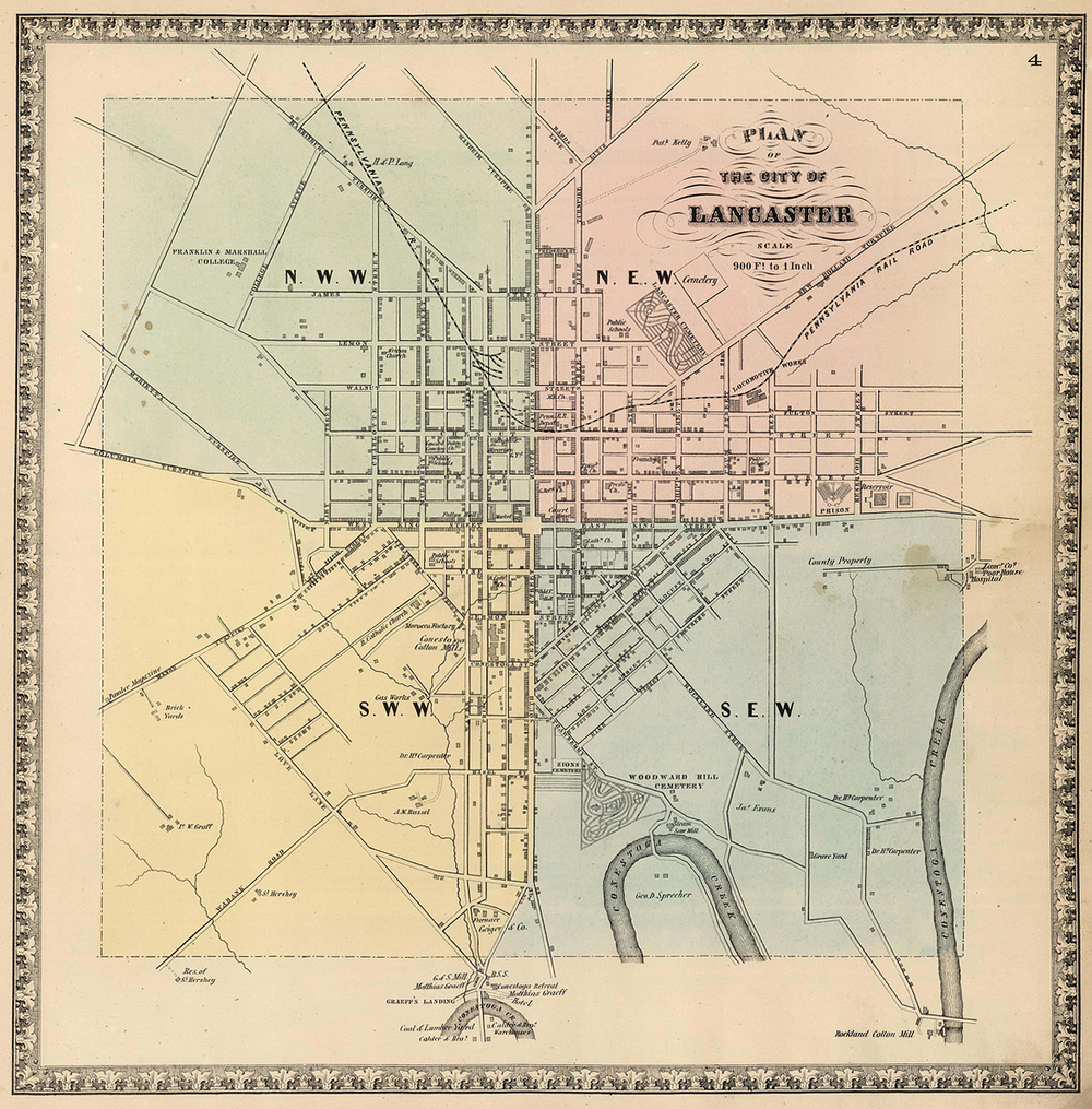 City of Lancaster, circa 1864. David Rumsey Map Collection.