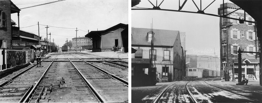 Images detailing both the freight terminal and industrial tracks the spurred off the main line (left) and the western view from the passenger station shed looking out on the crossing of N. Queen Street. These images reinforce the complicated and dangerous operating conditions the city and railroad faced on a daily basis. Both images courtesy of LancasterHistory.org, Lancaster, Pennsylvania