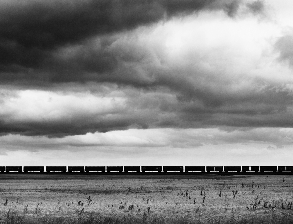 Great Northern Railway. Westbound freight train, west of Havre, Montana, 1968 by noted photographer  David Plowden  is one of roughly 80 photographs in the exhibition titled, All Aboard! Railroads and the Historic Landscape they Travel.