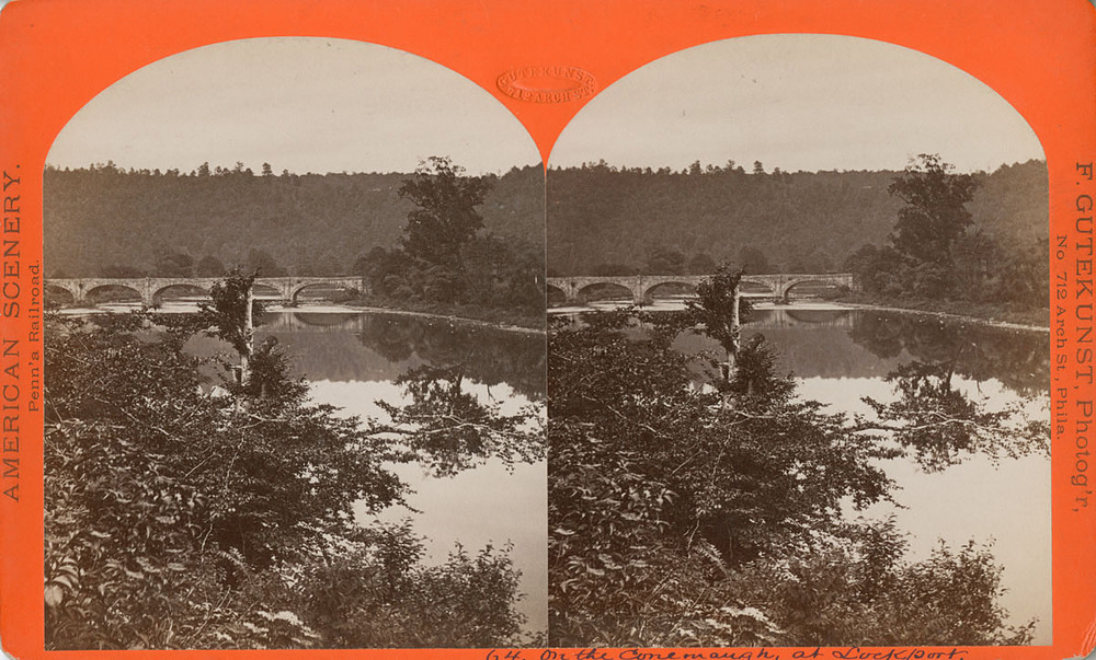 On the Conemaugh at Lockport, Pennsylvania, by Frederick Gutekunst. Up until the PRR portfolio surfaced, much of Gutekunst's work for the PRR was only known to exist in stereo views like this. Image collection of Library Company of Philadelphia.