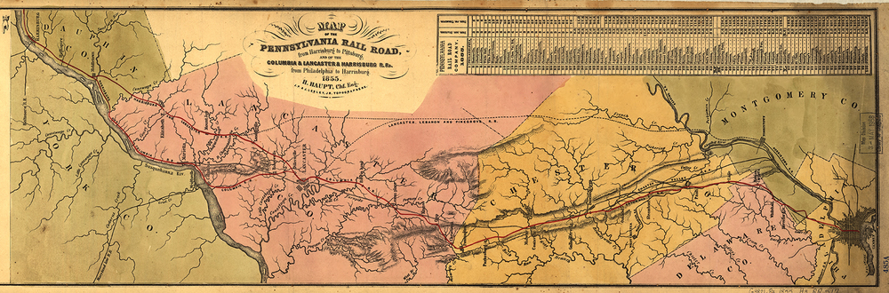 Detail of the 1855 map under Chief Engineer H. P Haupt shows the proposed Lebanon, Lancaster & Pine Grove Railroad (across the upper center area of the map) which would eliminate the need to purchase the State's failing Mainline of Public Works. Though the route was never built the similarities of the line with Downingtown & Lancaster branch makes one wonder if the property had once been considered to be part of the plan had the Commonwealth and the PRR never came to terms. Map collection of the Library of Congress