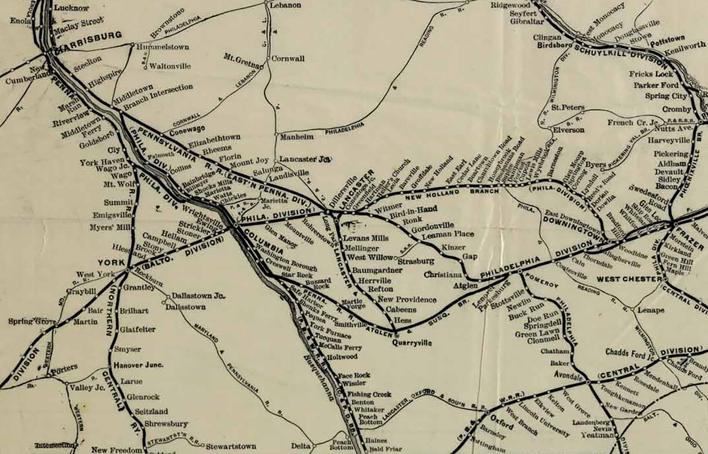 Detail of a 1911 PRR system map showing the New Holland Branch, symbolic of the corporate restructuring that rolled the D&L franchise into the PRR portfolio of lines and assets. Map Collection of the author