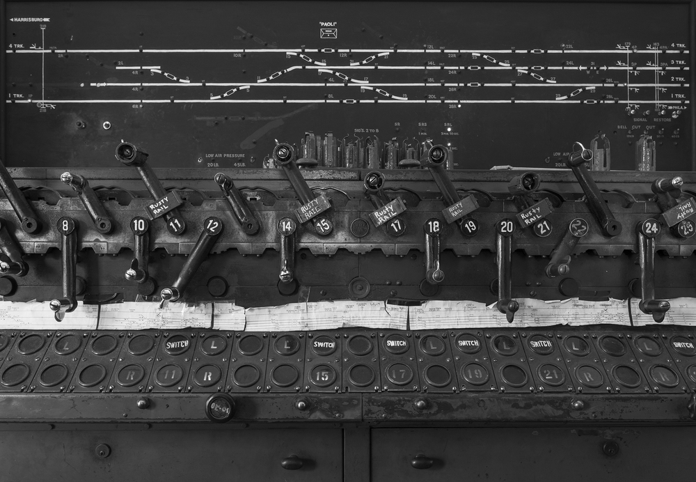 Detail of the Union Switch & Signal interlocking machine at Paoli tower. Though still in service the interlocking plant here and the facility's importance has been greatly reduced with the elimination of the shops. The model board reflects the abandoned #2 and #3 main tracks west of the interlocking.