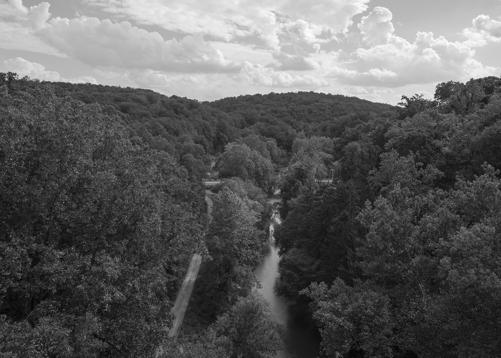View looking south from the Martic Forge Trestle reveals the rugged terrain the PRR had to contend with when creating the Low Grade, cutting through hills and spanning valleys to maintain an acceptable ruling grade for moving high volumes of heavy freight.