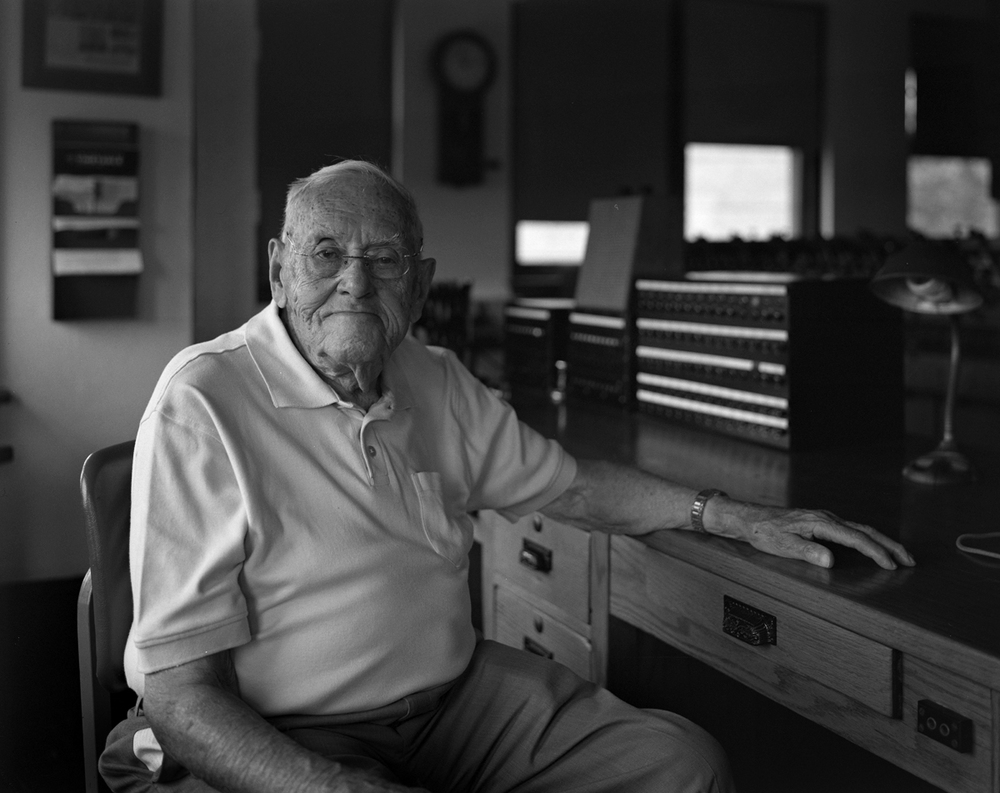 During my visit to Harris in 2012 I had some time to chat with Don while photographing him with the 4x5 view camera. I am lucky to have this image of Don at the train director's desk, a familiar place throughout his 42 years of working in interlocking towers for the Pennsylvania Railroad, Penn Central and Conrail.