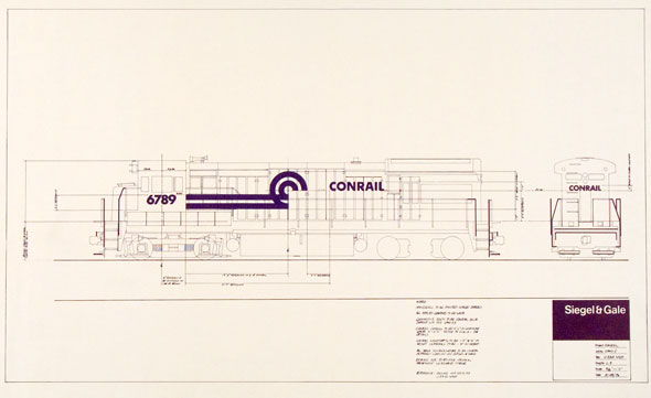 Tony Palladino worked for design firm Siegel & Gale when he developed the iconic Conrail logo and identity, shown here in a lettering diagram. Collection of the Milton Glaser Design Study Center and Archives.