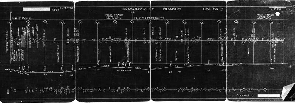 Pennsylvania Railroad track chart showing the grades and curvature of the former Lancaster & Reading Narrow Gauge Quarryville Branch circa 1940.