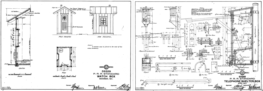 The Pennsylvania Railroad maintained standard plans for watch boxes and telephone shelters among countless other items on the property. These structures were common along the Atglen & Susquehanna Branch; At one point there were 11 watch box locations in addition to line side telephones were spaced approximately 1.25 miles to provide direct contact with block operators and dispatchers in the event that a track inspector needed to report a problem with the line. Collection of Pat McKinney, courtesy of  Rob Schoenberg's PRR page