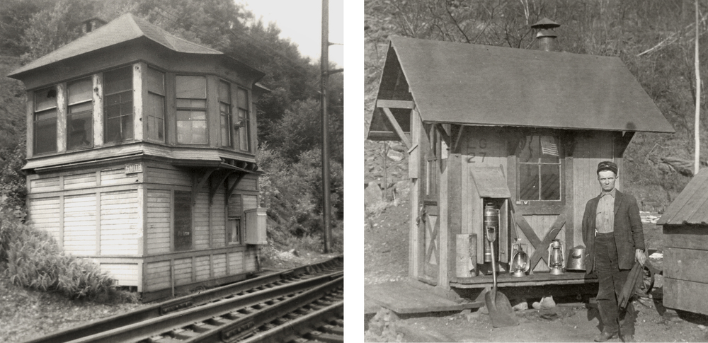 L. Shenks Ferry (Smith) interlocking tower circa 1967. This tower survived the electrification and addition of automatic block signals in 1938 and was employed as needed in the event of a wreck or track work in the area. Photo by William R. Fry, Jr. R. LG27, one of 11 watch boxes on the A&S Branch, located just west of the Safe Harbor Viaduct where sharp cliffs and rock cuts posed concerns. These were staffed 24/7 and equipped with the necessary tools, a stove and telephone box for inspectors to conduct their work while staying in constant contact with block operators and dispatchers. Collection of the Southern Lancaster County Historical Society