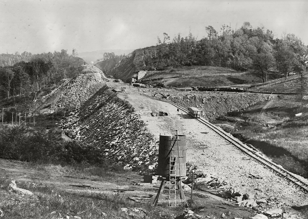 One of seven cuts and a fill illustrated in this Manor Township view in Southern Lancaster County. Chief Engineer, William, H Brown, saw to it that the ablest contractors were employed to complete this challenging work promptly. The Manor section was contracted to Patricius McManus a very accomplished railroad builder and neighbor of Brown. Harry P. Stoner photograph, Kline Collection, Railroad Museum of Pennsylvania, PHMC